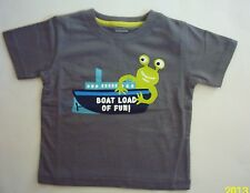NWT Gymboree Stripes in Space Alien Boat Gray Grey Tee Shirt 12 18