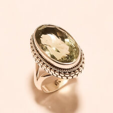 "925 Solid Sterling Silver Charming Best Quality Green Amethyst Ring Size ""6.50"""