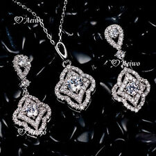 18k White Gold Filled Diamond Fashion Jewellery Sets