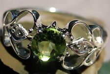 Ladies Solitaire Round Green Peridot Genuine Diamonds Ring 925 Sterling Silver 7