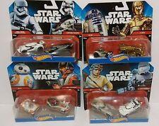 HOT WHEELS STAR WARS LOT (8 CARS),BB-8,POE DAMERON,Rey,r2-d2,c-3po, First Order