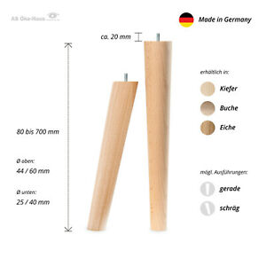 1x Laubholz Sofa,Stuhl,Schrank oder Tischbeine Massivholz 8-70 cm lang ⌀25-60 mm