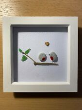 HANDMADE BEACH PEBBLE WALL ART PICTURE, TWO ROBINS GLASS LEAVES WITH ❤️