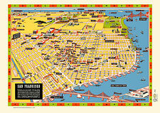San Francisco Illustrated Map 1940s Poster Vintage Market St Golden Gate Bridge