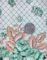 "Vintage Green Fabric Cotton Material Print Floral Quilting 17"" X 30"" Peach A1"