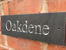 "Slate House Sign 12"" X 4"" Any Name / Number SILVER LETTERING"