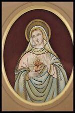 † 1919 IMMACULATE HEART of MARY FRENCH NUN'S EMBROIDERY GOLD RED VELVET FRAME †