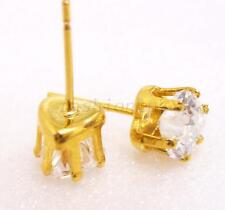 6mm Small Heart Clear Cubic Zirconia Stud Earrings 24K Yellow Gold Plated Unisex