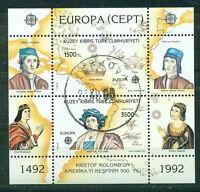 Türkisch - Zypern 1992 CEPT Block 10 gestempelt