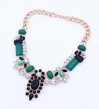 Collier Statement Blogger Collana Elegante Chocker Strass verde nero