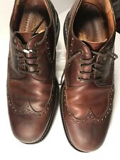 JOHNSTON & MURPHY Passport Men's Brown Leather Wingtip Oxford 11M Made in Italy