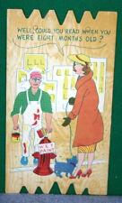 Vintage KOMIK KARD POSTCARD PLAK Comical Post Card - Dog Peeing on Fresh Paint