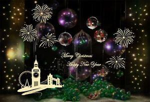 Grand Noël Nouvel An Feux D'artifice London Boutique Autocollant  Fenêtre Murale