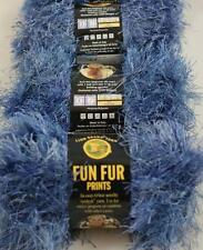 Lion Brand FUN FUR Yarn BLUE INDIGO #203 Variagated Yarn 3 skien lot NEW