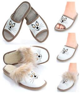 Damen Leder HausSchuhe Pantoffeln Pantoletten mit Katzengesicht Gr. 36 - 41 NEU