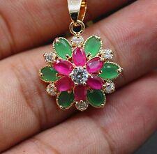 Flower Ruby Emerald CZ Pendant 18k Gold Plated Necklace Fashion Women Jewelry