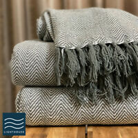 100% Cotton Dark Grey Tweed Herringbone Large Sofa / Bed Throw Blanket Fringed
