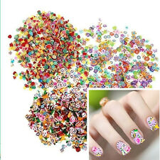1000 Pcs 3D Fruit Animals Fimo Slice Clay DIY Nail Art Tips Sticker Decoration``