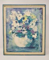 Vintage Oil Painting Abstract Expressionist Still Life Vase of Flowers Signed