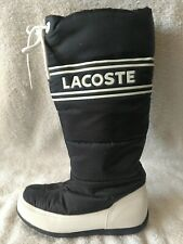 WOMEN'S LACOSTE SNUG WINTER SNOW BOOTS BLACK WATERPROOF SIZE 6 MID CALF HEIGHT