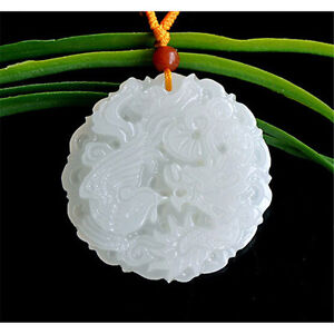 Natural Chinese White Jadeite Jade Hand-carved Dragon Phoenix Pendant Necklace