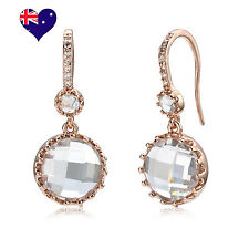 Rose Gold Plated Cubic Zirconia Drop Earrings Bridal Gift Jewellery-Free Ring