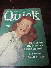 QUICK  NEWS WEEKLY  MAR 1952  MAUREEN O'HARA  NASH DE VALERA ZENITH COBRA MATIC