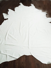 """56 SQ FT XL LEATHER COWHIDE WHITE 8'4"""" x 6'9"""" UPHOLSTERY/CRAFTS $350"""
