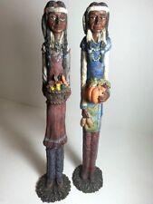"Vintage Thanksgiving Native Couple 2-PC SET Statue  Figurine Table Decor 12"""