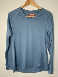 NWT Simms Fishing Women's Drifter Tech Long Sleeve Shirt Size Large Blue Outdoor