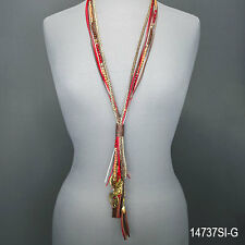 Multi Colored Rope Beaded Tassel Love Tree Of Life Filigree Pendant Necklace