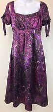 Bahari Size 8 Satiny Dress Purple Floral Paisley Damask Empire Waist Bows