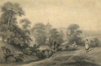 George Holmes, Pastoral Scene with Church & Figures, Ireland –c.1797 watercolour