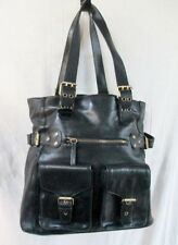 PARADOX Leather Tote Purse Handbag Saddle Bag Stud Carryall BLACK L