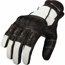 Motonation Campeon Leather Motorcycle Glove - Black/White, All Sizes