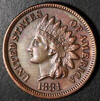 1881 INDIAN HEAD CENT - With LIBERTY & DIAMONDS - AU UNC
