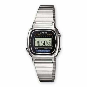 Lady Watch Casio la670wa-1df Digital Black Dial Steel New Service Alert Time