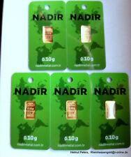 GOLDBARREN 5 Stück je 0,10 Gramm 999.9 Gold 24 Karat NADIR LBMA Zertifikat NEU