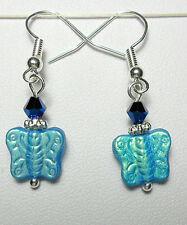 Dangle earrings - shiny blue glass butterflies