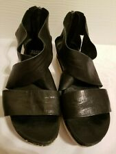 Eileen Fisher Black Strappy Leather Back Zip Sandals Size 7