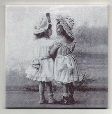 Dekofliese Wandbild Bildfliese Decoupage Vintage Zwei Mädchen (089DP)