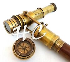Nautical Compass Top Wooden Walking Stick & Canes With Hidden Brass Telescope
