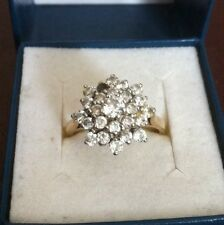 Ladies 9ct Gold Cluster Ring With White Stones - Size Q 1/2