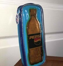 Pepsi Vtg Vinyl Pencil Case Blue Zipper School Carrying Bag Soda Pop Cola RARE