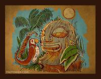 Bird Tiki Bar Art Lowbrow Pop Polynesian Tiki Room Parrot Beach Man Cave Print