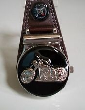Men's Bike Clip On Brown Leather Band/Silver Tone Pocket Watch