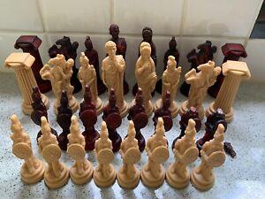 Roman Themed Chess Set.  Burgundy and Cream Resin Figures. Tallest Figure 10cm