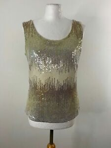 Sequin Sleeveless Blouse Gold Bronze and Silver Size 10