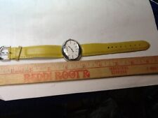 K&Bros Silver-Tone Unisex Watch with Yellow Leather Band