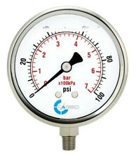 "4"" Pressure Gauge, Stainless Steel Case, Liquid Filled, Lower Mnt 100 PSI"